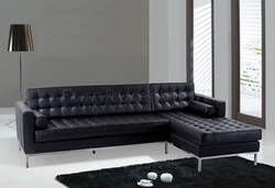 At Home USA - Black Button-Tufted Leather Sectional Sofa