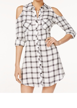 Material Girl  - Plaid Cold-Shoulder Shirtdress
