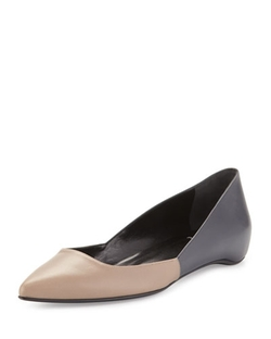 Pierre Hardy - Colorblock Leather Point-Toe Skimmer, Taupe/anthracite
