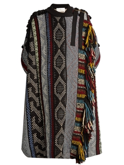 Chloé   - Short Sleeved Fringed Wool Blend Cape