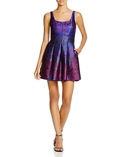 Cynthia Rowley - Scoop Neck Floral Jacquard Dress