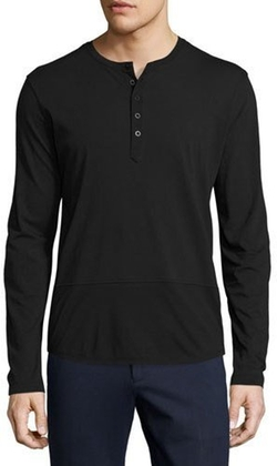 ATM Anthony Thomas Melillo - Mixed-Media Henley T-Shirt, Black
