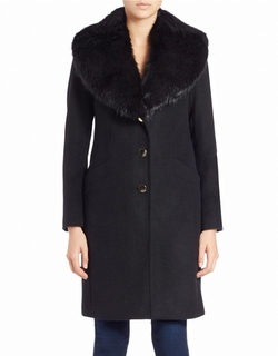 Eliza J - Faux Fur-Trimmed Wool-Blend Coat