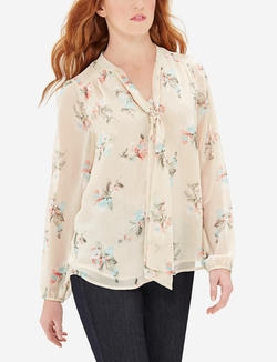 The Limited - Floral Bow Blouse
