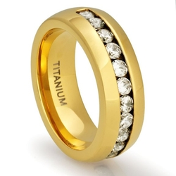 Cavalier Jewelers - Titanium 18K Gold-Plated Ring Wedding Band