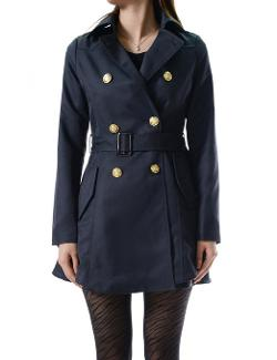 TheLees  - Slim Fit Big Lapel Double Breasted Belted Trench Coat