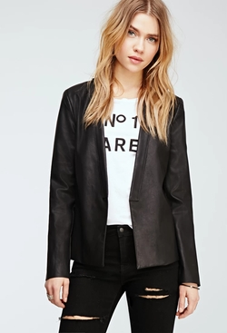 Forever 21 - Faux Leather Shawl Collar Blazer