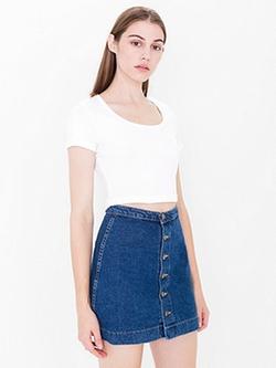American Apparel - Button Front Denim A-Line Skirt