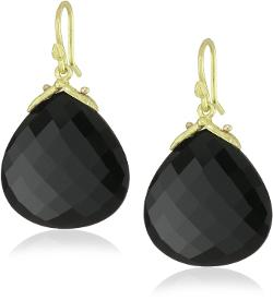 Gabrielle Sanchez  - 20x20mm Faceted Black Onyx Drop with Medium Double Seed Earrings