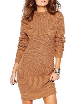 Clothink  - Plain Cable Knit Slim Sweater Dress