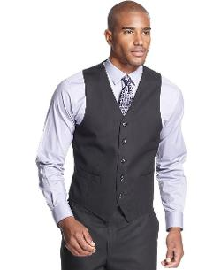 Sean John  - Black Tonal Stripe Vest