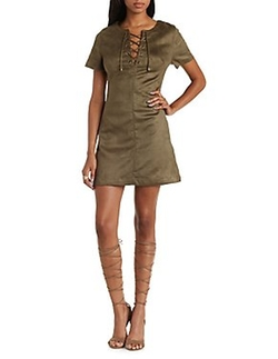 Charlotte Russe - Lace-Up Faux Suede Dress