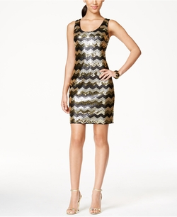 Guess - Sequined Chevron-Print Tank Dress