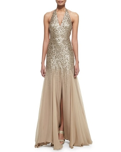 Halston Heritage  - Half-Sequined Halter Mermaid Gown