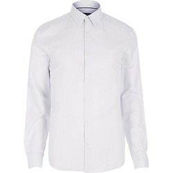 River Island - White Fine Stripe Long Sleeve Shirt