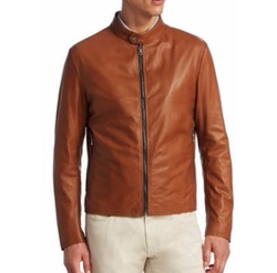 Saks Fifth Avenue - Banded Collar Leather Jacket