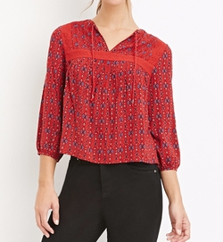 Forever 21 - Ornate Print Peasant Top