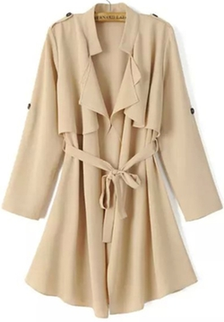 Romwe - Long Sleeve Epaulet Tie-Waist Trench Coat