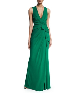 Elie Saab  - Wrap-Front Sleeveless Jersey Gown