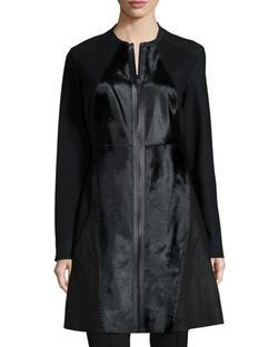 Elie Tahari  - Dawson Leather & Calf-Hair Mid-Length Coat