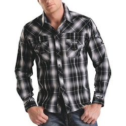 Rock & Roll Cowboy  - Plaid Cross Applique Western Shirt