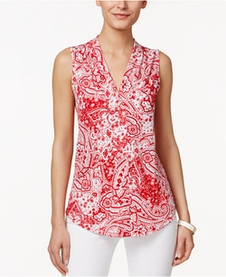 Charter Club - Sleeveless Paisley-Print Top