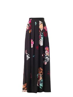 Honor - Rose-Print Pleated Maxi Skirt