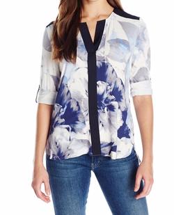 Calvin Klein - Printed Roll Sleeve Tunic Top