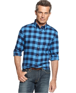 John Ashford  - Long Sleeve Buffalo-Plaid Flannel Shirt