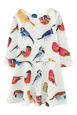 Xasap - Parrot Print Crop White Dress