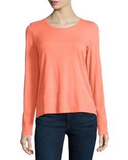 Eileen Fisher  - Long-Sleeve Organic Cotton Tee