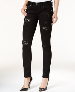 Miss Me - Ripped Embellished Black Wash Skinny Jeans