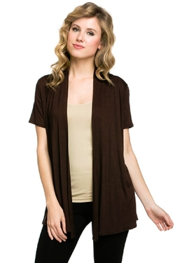 Viosi - Short Sleeve Draped Open Front Cardigan