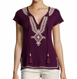 Calypso St. Barth - Solney Embroidered Cashmere Top