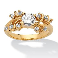 PalmBeach Jewelry  - Round Cubic Zirconia 14k Yellow Gold-Plated Wedding Band Ring
