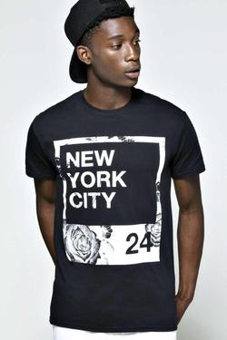 Boohooman - NYC Monochrome Polaroid T Shirt