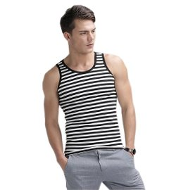 Meilaier  - Mens Summer Cotton Jersey Striped Tank Tops