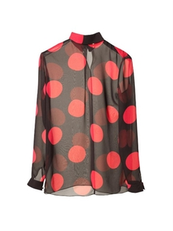 Saint Laurent - Polka-Dot Print Silk-Georgette Blouse
