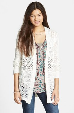 Sun & Shadow  - Lace Inset Cable Knit Open Cardigan