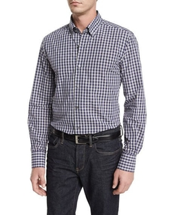 Neiman Marcus  - Small Check Long-Sleeve Sport Shirt