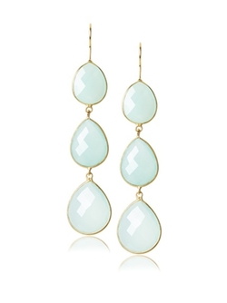 Liv Oliver - Chalcedony Three Stone Drop Earrings