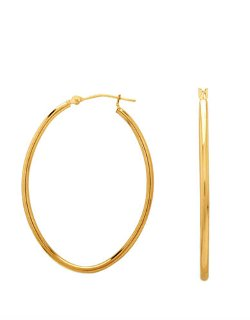 Lord & Taylor  - Yellow Gold Polished Oblong Hoop Earrings