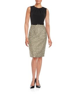 Nipon Boutique - Belted Tweed Sheath Dress