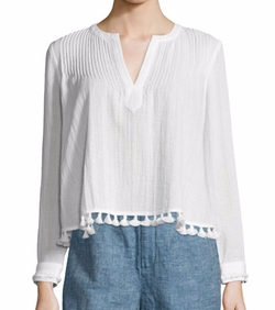 10 Crosby Derek Lam - Boxy Pintucked Tassel-Trim Cotton Top