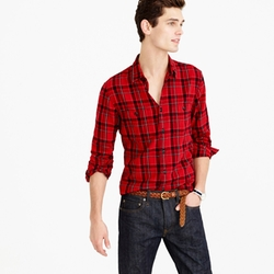 J.Crew - Midweight Flannel Shirt In Holiday Red Plaid