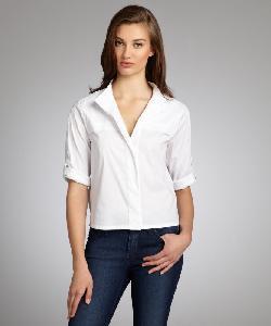 BCBGMAXAZRIA  - White Stretch Cotton Tab Sleeve