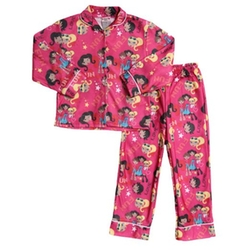 Angel Face - Two Piece Pink Fuchsia Flannel Pajamas