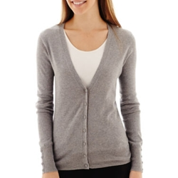 Worthington - Long-Sleeve Button Front Cardigan