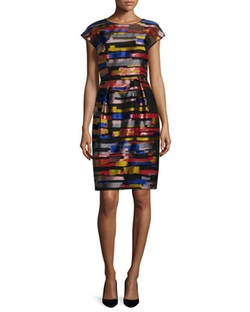 Escada  - Cap-Sleeve Brushstroke-Print Dress
