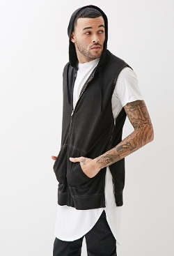 21 Men - Faded Zippered Sleeveless Hoodie